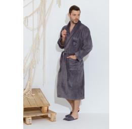 Махровый халат класса Люкс с тапочками Boss Well(EMD 293grey)