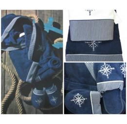 Набор класса Люкс. Махровый халат, 2-а полотенца и тапочки Marin's(EMD 305/299/301). 2-е расцветки