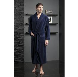 Велюровый халат из бамбука LAWRENCE(EFW 713 dark-blue)