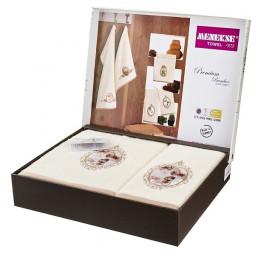 Набор шикарных махровых полотенец из бамбука Madam Laura - Хит продаж!(EA 5656white Menekse)