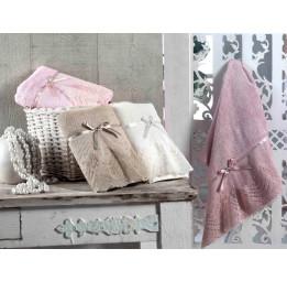 Шикарное махровое полотенце с кружевом Vita Bamboo 70х140 см.(EA 4680 P-la)