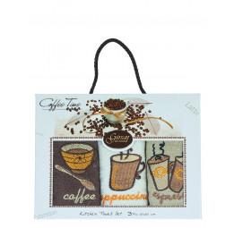 Набор махровых кухонных полотенец - салфеток Coffee Time(3-и штуки)