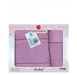 Комплект из 2-х нежных махровых полотенец SEDEF Roses. Подарочная коробка(EA 2199 Pas-sa)