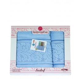 Комплект из 2-х махровых полотенец SEDEF Sky. Подарочная коробка(EA)