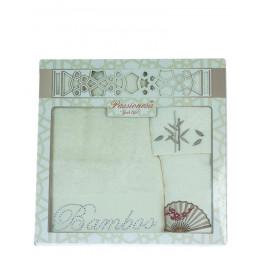 Комплект из 3-х бамбуковых полотенец с вышивкой и стразами Gift BOX. Мягкость и блеск!(EA 3899 Pas-sa)