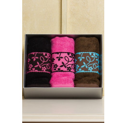 Бамбуковые полотенца BAMBOO. 3-и штуки. Подарочная коробка.(EA Cestepe)