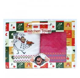 Кухонные махровые полотенца Kitсhen towel. Набор из 2-х штук.(DNZ Gulcan)