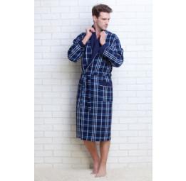 Мужской вафельный халат Gentelmen Style(E 10020 blue)