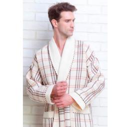 Мужской вафельный халат Gentelmen Style(E 10020 cream)