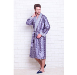 Мужской шелковый халат Quattro grey(8015)