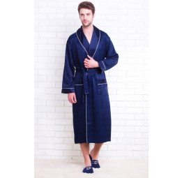 Мужской атласный халат из бамбука Silk bamboo(12500 deep blue)