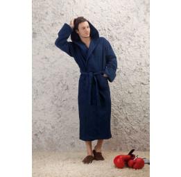 Мужской махровый халат с капюшоном SPORT&Life(Е 901blue)