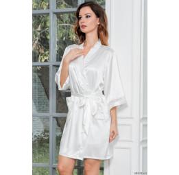 Укороченный шелковый халат DIVA-white (EM 9543)