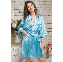 Укороченный шелковый халат DIVA-blue (EM 9543)
