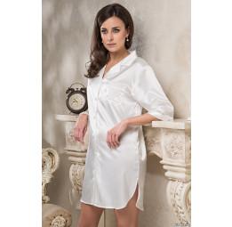 Удлиненная шелковая рубашка  DIVA-white (EM 9547)