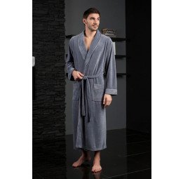 Велюровый халат из бамбука LAWRENCE(EFW 713 grey)