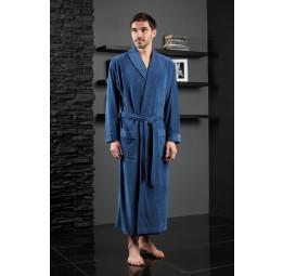 Велюровый халат из бамбука LAWRENCE(EFW 713 blue)