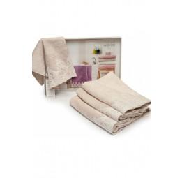 Набор бамбуковых полотенец с кружевом ручной работы Jasmin (EMD) 3 шт.