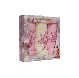 "Набор из 3-х полотенец ""Sakura"" VipCotton (EA 1832). 10 цветов"
