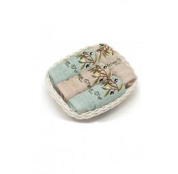 Набор из 4-х махровых полотенец для кухни BASKET'S. В плетеной корзиночке (EMD)