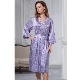 Длинный шелковый халат-кимоно LAVANDA (9999)