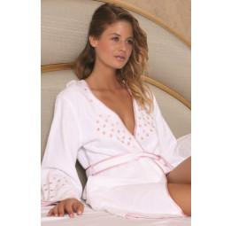 Легкий махровый халат с капюшоном LOVE (EMD 4356)