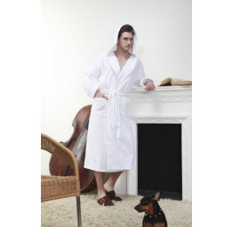 Мужской махровый халат с капюшоном Arctic White Plus(Е 901)
