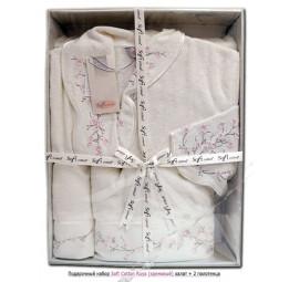 Подарочный набор из махрового халата и 2-х полотенец с вышивками Ruya (ESC)