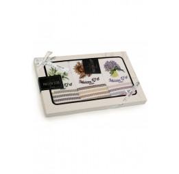 Набор из 3-х вафельных полотенец с вышивкой STRIPE (EMD)