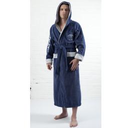 Спортивный бамбуковый халат - Атлетик(серо-синий)