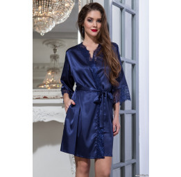 Шелковый халат-кимоно Flamenco-blue (2087)
