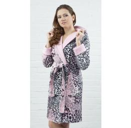 Укороченный махровый халат Леопард Мини