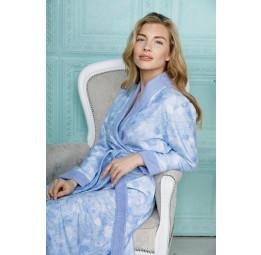 Бамбуковый халат из облегченной махровой ткани Liana-blue (EFW)