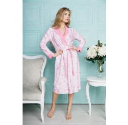 Бамбуковый халат из облегченной махровой ткани Liana-pink (EFW)
