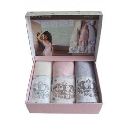 Набор бамбуковых полотенец для рук со стразами LIERRA (EMD) 3 шт.