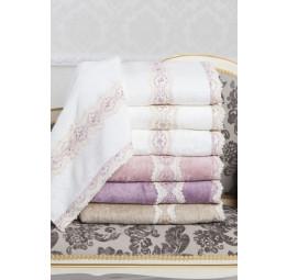 Изысканное махровое полотенце из бамбука с нежным кружевом Vanessa 50x100 (EMD)