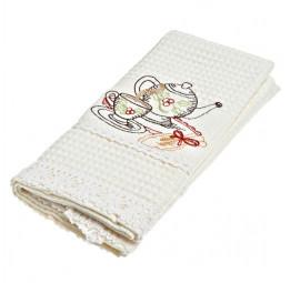 Вафельное полотенце с натуральным кружевом и вышивкой Anatolia (EMD)