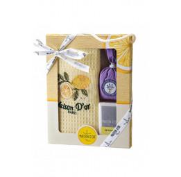 Подарочный набор TRIO: вафельное полотенце, мешочек с  лепестками лаванды и туалетное мыло (EMD)