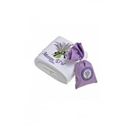 Вафельное полотенце и мешочек с лепестками лаванды(EMD)