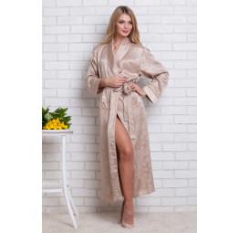 Женский атласный халат из бамбука Silk bamboo(9210 sandy)
