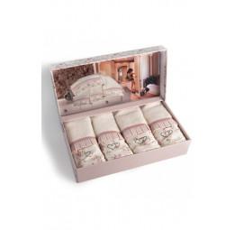 Набор бамбуковых полотенец - салфеток с стразами Roses (EMD) 4 шт.