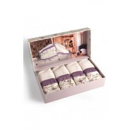 Набор бамбуковых полотенец - салфеток с стразами Roses lila (EMD) 4 шт.