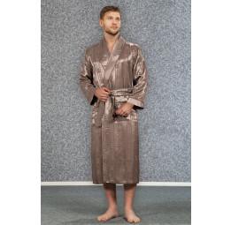 Мужской атласный халат из бамбука Silk bamboo(12500 beige)