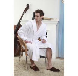 Удлиненный банный халат с капюшоном Arctic White Plus(Е 901)