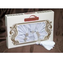 Скатерть с 6-ю салфетками и декоративными кольцами VANESSA(001)