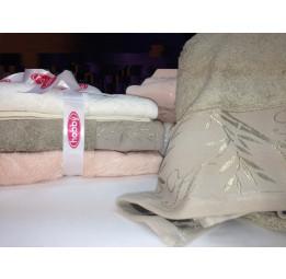Нежные бамбуковые полотенца Malika(Банный комплект-3 штуки)