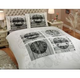 Современная коллекция в стиле Модерн. Сатиновое постельное белье WORLD CLOCK