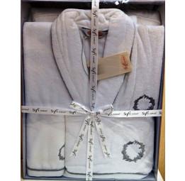 Мужской махровый набор OLYMP. Халат и 2-а полотенца (ESC). Большая подарочная коробка.