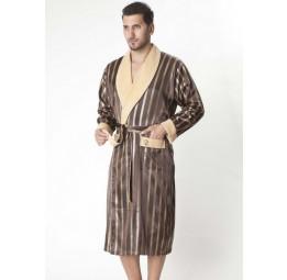 Мужской шелковый халат Dark brown (9015)