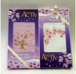 """Набор из 2-х вафельных полотенец с вышивкой """"Цветы сакуры"""". Подарочная коробка с ленточкой."""